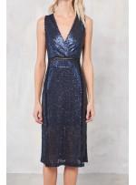 Elbiselik 5 Milim Seyrek Payetli Mat Lacivert c52 Kumaş - K8821