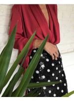 Çift Renkli Puantiye Desenli Payet Kumaş - Siyah Beyaz - K9212