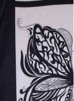 Kelebek Desenli İpek Saten Kumaş - Siyah Beyaz - S0006