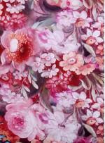 Çiçek Desenli Renkli %100 İpek Saten Kumaş - S0023