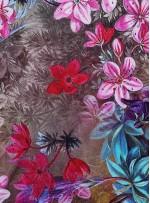 Renkli Çiçek Desenli %100 İpek Saten Kumaş - S0024