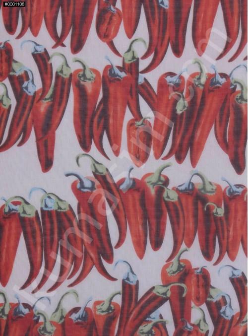 Kırmızı Biber Desenli %100 İpek Şifon Kumaş - S0026