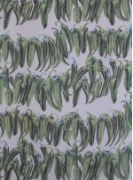 Yeşil Biber Desenli %100 İpek Şifon Kumaş - S0026