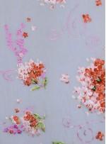 Çiçek Desenli %100 Gerçek İpek Şifon Kumaş - S0033