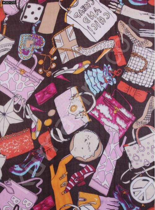 Çanta ve Ayakkabı Desenli İpek Şifon Kumaş - S0038