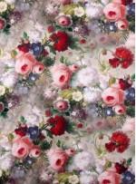 Kırmızı ve Pudra Renkli Çiçek Desenli İpek Saten Kumaş - S0042