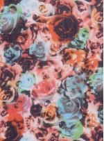 Kırmızı Tonlu Çiçek Desenli %100 Gerçek İpek Şifon Kumaş - S0048