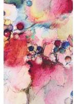 Kırmızı Sarı Pudra Rengarenk Çiçek Desenli İpek Saten Kumaş - S0052