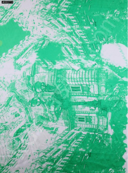Yeşil Karakalem Köşk Desenli İpek Saten Kumaş - S0053