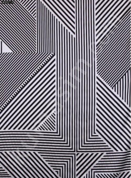 Siyah Beyaz Karışık Çizgi Desenli İpek Saten Kumaş - S0054