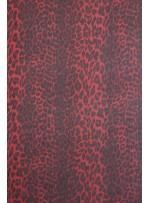 Kırmızı Leopar Desenli %100 Gerçek İpek Şifon Kumaş - S0059