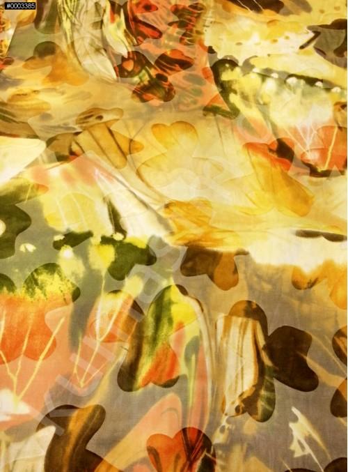 Sarı Karışık Desenli Yakma %90 İpek Şifon Kumaş - S0071