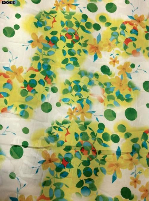 Yeşil Çiçek Desenli Yakma %90 İpek Şifon Kumaş - S0079