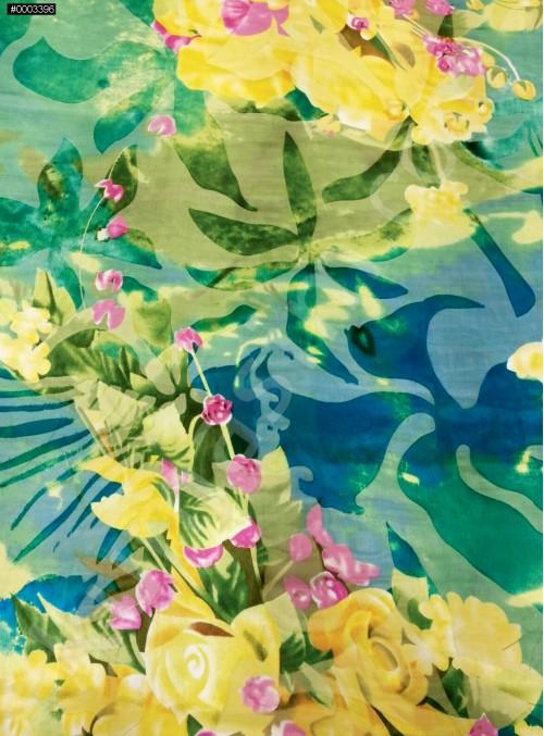 Rengarenk Büyük Çiçek Desenli Yakma %90 İpek Şifon Kumaş - S0082