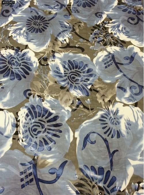 Gümüş - Gold Çiçek Desenli Yakma %90 İpek Şifon Kumaş - S0087