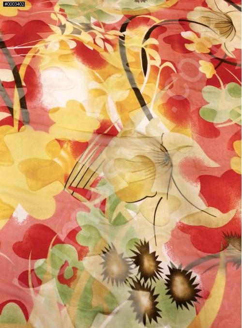 Çiçek Desenli Yakma %90 İpek Şifon Kumaş - S0088
