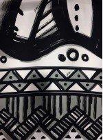 Siyah Beyaz Abiyelik ve Elbiselik Geometrik Desenli %100 İpek Kumaş - S0097