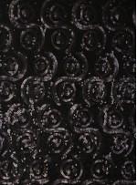 Desenli ve Yoğun Payetli Siyah Kumaş - K100