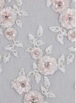 Çiçek Desenli Boncuklu Nişanlık ve Gelinlik Pudra Beyaz Kumaş - K10001
