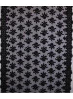 Gelinlik ve Nişanlık Aplike Desenli Eteği Sulu Siyah Kumaş - K10004