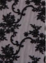 Gelinlik ve Nişanlık Aplike Desenli Eteği Sulu Siyah Kumaş - K10005