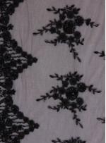 Gelinlik ve Nişanlık Aplike Desenli Eteği Sulu Siyah Kumaş - K10006
