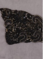 Swarovski Taşlı ve Boncuklu Siyah Aplike - A1003