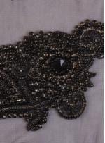 Swarovski Taşlı ve Boncuklu Siyah Aplike - A1004