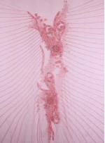 Kanat Desenli Swarovski Taşlı - Boncuklu - Payetli Koral Kupon Elbise - K10638