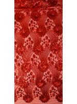 Çiçek Desenli ve Yoğun Payetli Kırmızı Kumaş - K107