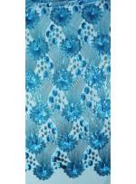 Çiçek Desenli ve Yoğun Payetli Mavi Kumaş - K107