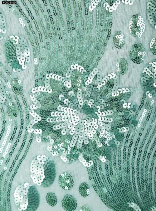 Çiçek Desenli ve Yoğun Payetli Yeşil Kumaş - K107