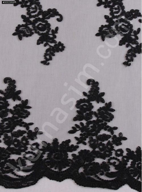 Aplike Kesilebilir Siyah Kordoneli Dantel Kumaş - K10854