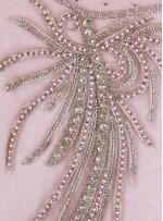 Sade Swarovski Taşlı - Payetli ve Boncuklu Karides Rengi Kupon Elbise - A11108