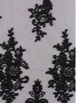 Eteği Sulu Kordoneli Abiyelik Siyah Kumaş - K11209