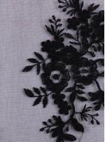 Aplik Kesilebilir Siyah Kordoneli Abiyelik Kumaş - K11345