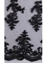 Aplik Kesilebilir Abiyelik Siyah Kordoneli Kumaş - K11688