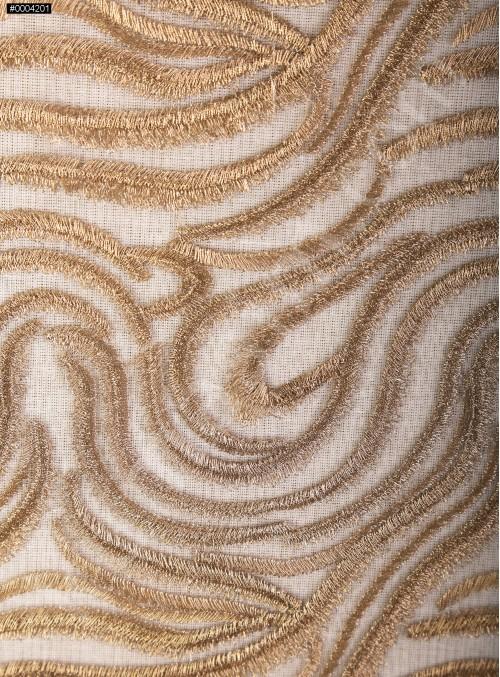 Karışık Desenli Tül Üzeri Bakır Nakışlı Kumaş - K117