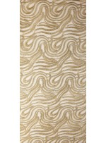 Karışık Desenli Tül Üzeri Gold Nakışlı Kumaş - K117