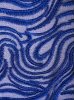 Karışık Desenli Tül Üzeri Saks Nakışlı Kumaş - K117