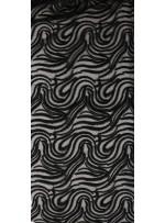 Karışık Desenli Tül Üzeri Siyah Nakışlı Kumaş - K117