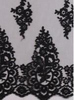 Aplike Kesilebilir Siyah Kordoneli Dantel Kumaş - K11776