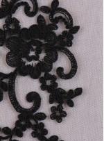 Kesilebilir Aplike Siyah Kordoneli Dantel Kumaş - K11818