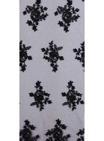 Kesilebilir Aplike Siyah Kordoneli Dantel Kumaş - K11853