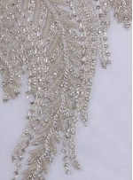 Deniz Anası Desenli Swarovski Taşlı ve Boncuklu Beyaz Büstiyer - A1251