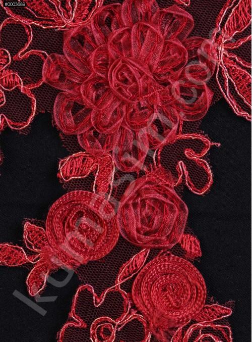 Gelinlik ve Nişanlık 3 Boyutlu Kırmızı Aplike - K14095