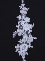 Gelinlik ve Nişanlık Çiçek Desenli Beyaz Aplike - K1824