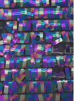 Hologram Siyah Büyük Dikdörtgen Payetli Kumaş - K201