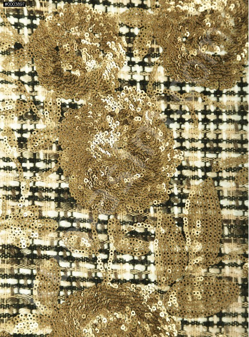 Çiçek Payetli Gold Şanel Kumaş (Chanel Kumaş) - CH81 - K209