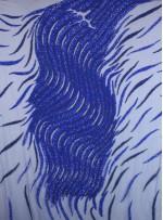 Dalgalı ve Karışık Desenli Payetli Saks Lacivert Kupon Elbise - A2245